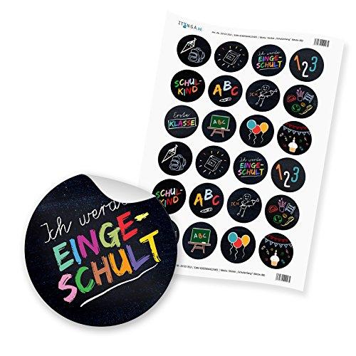 24 x itenga Sticker Aufkleber Etikett Schulanfang Einschulung Ich werde eingeschult(Motiv 88)