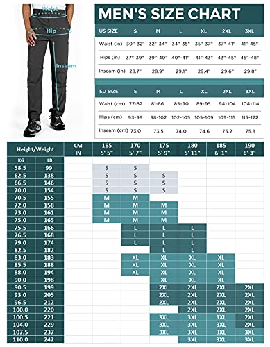 Wespornow Men's-Convertible-Hiking-Pants Quick Dry Lightweight Zip Off Breathable Cargo Pants for Outdoor, Fishing, Safari (Grey, Large)