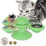 Tuopuda Juguete para Gatos con Diseño de Molino con 2 Pelotas,con Catnip y LED Bola y Palo Divertido,Juguetes interactivos de luz rotativa,Ventosa giratoria Antideslizante y Facil de Desmontar (Verde)