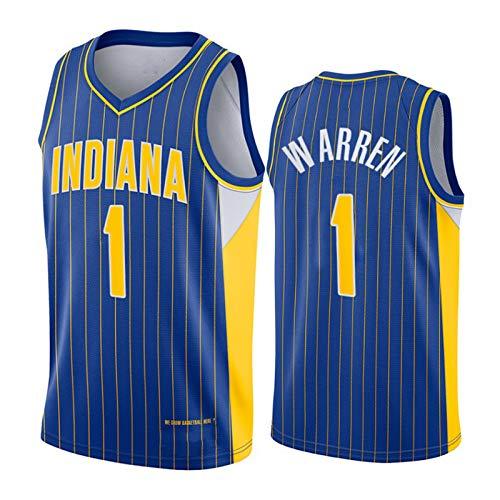 Indiana Pacers #1 T.J. Warren Jersey, 2021 New Season - Camisetas de baloncesto para hombre, sudadera retro unisex al aire libre