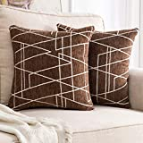 MIULEE Pack of 2 Decorative Throw Pillow Covers Geometric Pattern Chenille Cozy Modern Concise Soft Brown Square Cushion Shams for Bedroom Sofa Car 18 x 18 Inch