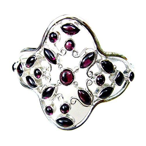 CaratYogi Natürlicher Granat 925 Sterling Silber Armreif Armbänder Für Frauen Januar Birthstone L 6,5-8 Zoll