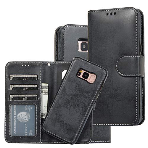 Funda compatible con Samsung Galaxy S8, funda de teléfono móvil Premium Wallet de piel PU antiarañazos, Flip S8, protección de 360 grados, funda de piel con Galaxy S8 Case Cover Negro 42