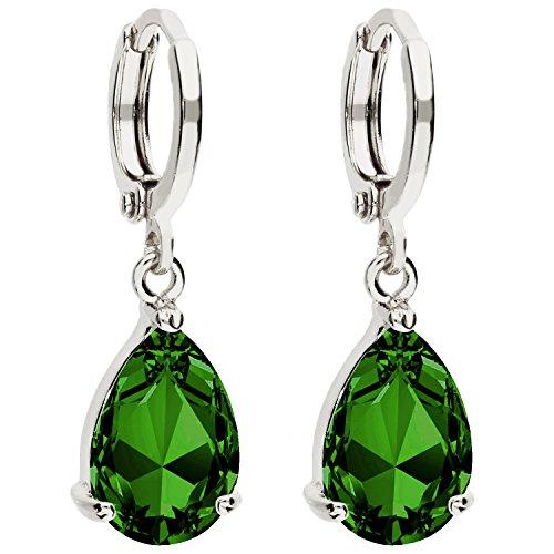MYA art Damen Creolen Ohrringe Hängend Ohrhänger mit Zirkonia Stein Tropfen Oval Anhänger Silber Smaragd Grün Vergoldet MYAWGOHR-74