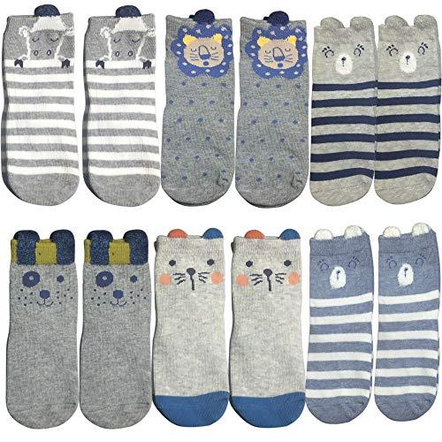6 pares de calcetines antideslizantes para bebé de 12 a 36 meses, unisex, para bebés, niños, niñas, antideslizantes, con patrón de animales, calcetines para los pies, zapatillas de deporte