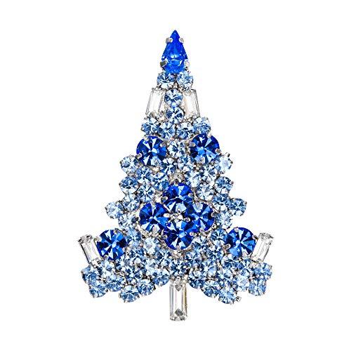 EVER FAITH Art Deco Christmas Tree Silver-Tone Brooch Blue Sapphire Color Austrian Crystal