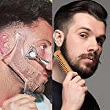 Beard Shaper -Men's Beard Shaping Tool Transparent Template Styling Comb Templates for Goatee Mustache Sideburns, Jaw Cheek/Neck Line, Symmetric/Curve/Step Cut