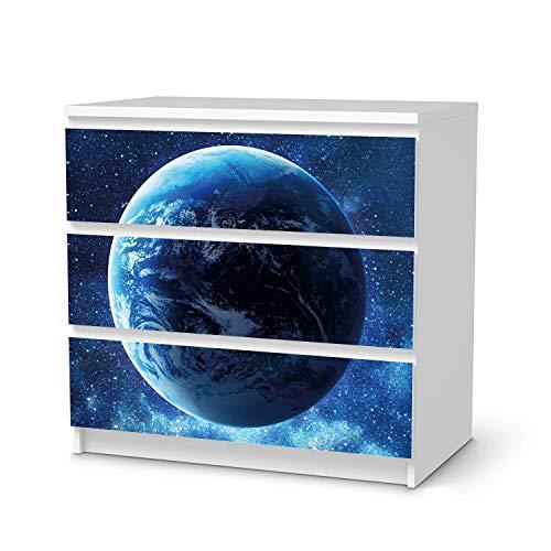 creatisto Möbeltattoo passend für IKEA Malm Kommode 3 Schubladen I Möbelaufkleber - Möbel-Folie Tattoo Sticker I Wohn Deko Ideen für Esszimmer, Wohnzimmer - Design: Planet Blue