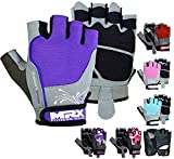 MRX BOXING & FITNESS Weight Lifting/Exercise Grip Gloves for Women, Great for Workouts, Weight Training and More, Purple Medium