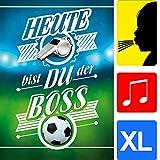 bentino Geburtstagskarte XL mit'Trillerpfeiffe' zum PUSTEN, spielt den Song'We are the Champions', DIN A4 Set mit Umschlag, Glückwunschkarte mit Musik, Lustiges Fußball Geschenk für Kinder
