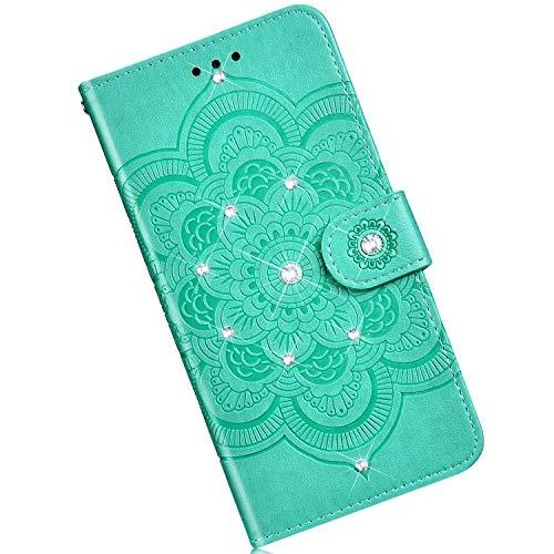 Qjuegad Kompatibel mit Samsung Galaxy S10 Plus Hülle Premium Flip Ledertasche Schutzhülle,Mandala Punktbohrer Muster Stoßfest Magnetische Flip Wallet Hülle mit Kartenhalter Cover mit Lanyard - Grün
