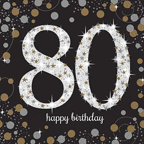 amscan 511965 16 Servietten 80.Geburtstag Sparkling Celebration, Schwarz/Silber