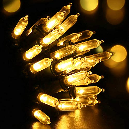 RECESKY Christmas String Lights with Timer - 50 LED 19ft Fairy Battery Operated Mini String Light for Outdoor Indoor Garden Patio Party Home Wreath Xmas Decor Christmas Tree Decoration - Warm White