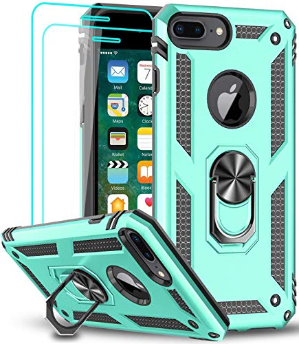 iPhone 8 Plus Case, iPhone 7 Plus Case, iPhone 6 Plus Case with Tempered Glass Screen Protector [2Pack], LeYi Military-Grade Phone Case with Rotating Holder Kickstand for iPhone 6s Plus, Mint