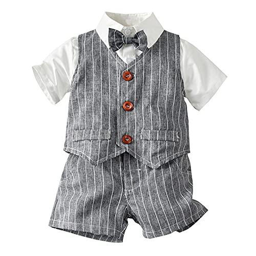 Wlabe - Conjunto de disfraz para bebé o niño, camisa con lazo, de manga corta y pantalón corto en tirantes para fiesta de cumpleaños, 3 – 5 años, gris, 4-5 Años