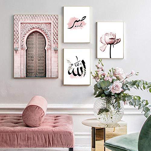 Allah Islámica Obra De Arte Poster Rosa Morroquí Puerta Modernos Lienzos Decorativas Flor Cuadros Sala De Estar Decoración De La Casa Musulmana 4 Piezas Sin Marco-20x30cmx3 40x60cmx1