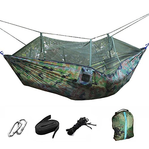 Portable Foldable Double Camping Hammock Mosquito Net Tree Hammocks Tent Travel Hanging Bed,Premium Quality Lightweight 210T Nylon,Capacity up to 441 lbs,with Strong Tree Straps,Hooks,Storage Bag