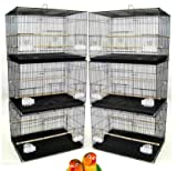 """【Lot of 6】 】Size:【 24"""" x 16"""" x 16""""H】 Breeding Flight Bird Cages Lift Up front door with one small door inside, Slide out bottom tray Bird Safe Epoxy Coated Finish; Include Clear Feeder Cups, Feeder Doors and Wooden Perches Bar Spacing: 3/8"""" For Breed..."""