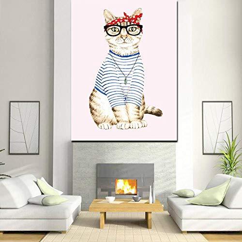 wZUN Impresión en HD Abstracto Gato Vestir Chica Corte Animal Pintura al óleo Lienzo Arte Pop Cuadro de Pared para Sala de Estar decoración del sofá 60X80 Sin Marco