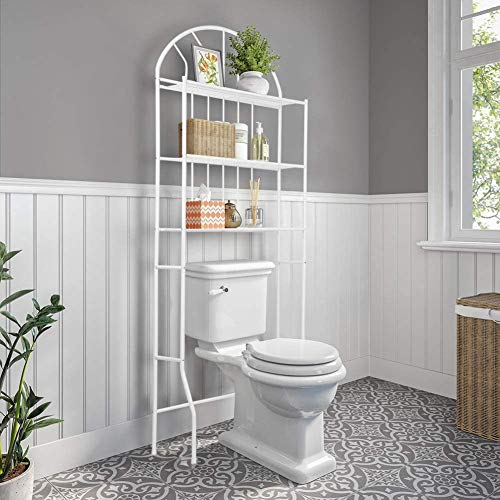 Cocoarm Estanteria Inodoro,Estanteria Baño 3 Niveles Estante de Almacenamiento Cuarto de baño Estante para tu baño o lavadero, 176.5 × 62 × 33.5 cm, Blanco