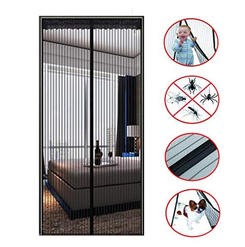 BYCDD Insectenwerend gordijn, sluit automatisch vliegengaas, deur met magnetisch mesh-gordijn, voor muggen-insecten 32x84in/80x210CM zwart