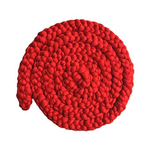 Ouuager-Home Baby foto rekwisieten rode hand geweven dikke garen deken maandelijkse groei foto mat tapijt groot tapijt fotografie rekwisieten voor kinderen volwassenen, 11 kleuren optionele pasgeboren fotografie rekwisieten