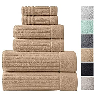 Luxury Bath Towel Collection Set - Ultra Absorbent and Plush Complete Towel Set With Unique Ribbed Design - Made with 100% Cotton (Beige)