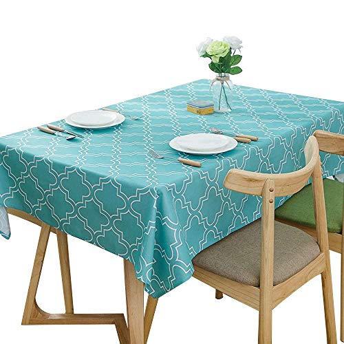Lamberia Rectangle Polyester Fabric Tablecloth Heavyweight Spill-Proof and Stain Resistant, 60x120 Oblong, Seats 12-14 People, Acid Blue