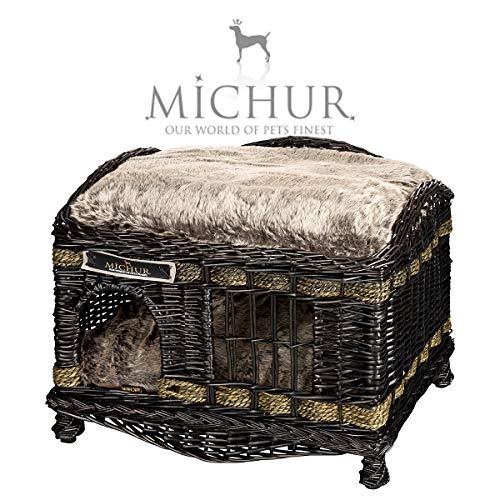 MICHUR TOM DARK Hondenmand, Katten grote, Hondenbed, Kattenmand, Wilg, hond kat, rieten, Bruine ca. 60x40x50cm (ligvlakken 58x38cm)