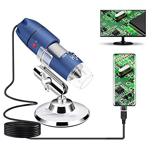 Jiusion 2K HD 2560x1440P USB Digital Microscope for Android Cellphone and Tablet Windows Mac Linux, 40X to 1000X Magnification Endoscope Handheld Mini Magnifier Camera for Coin Facial Skin Scalp
