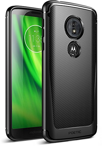 Moto G6 Play Case,Moto G6 Forge case, Poetic Karbon Shield [Shock Absorbing] Slim Fit TPU Case with [Carbon Fiber Texture] for Moto G6 Play/Moto G6 Forge Black