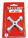 Securit cincado 4 Way Llave Multiusos - se Abre Agua, Electricidad y Gas Huecos de