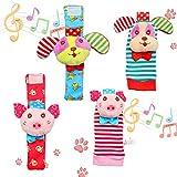 Twister.CK Paquet de 4 Paires de Chaussettes pour hochet et Poignet, Adorable Animal, hochet de bébé, hochets, Ensemble-Cadeau pour Le développement de Cadeaux, Chiot et Cochon