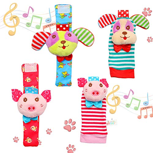 FunsLane Baby Rattle Baby Wrist Rattles and Foot Finder Socks Toy Set Educational Development Soft Animal Toy Shower Gift with Puppy and Piggy 4 Packs