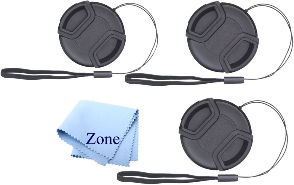 Lens Cap Bundle 52mm 2 Snap-on Lens Covers for DSLR Cameras including Nikon Canon Sony Lens Cap Keepers included