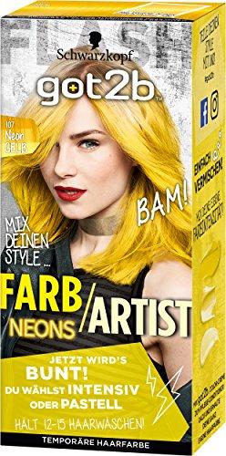 Schwarzkopf Got2b Farb/Artist Haarfarbe, 107 Neon Gelb, 1er Pack (1 x 80 ml)