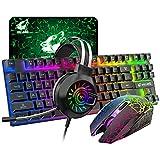 Tastiera da gaming senza fili da 87 tasti 2,4 G con retroilluminazione arcobaleno, 3800mAh sensazione meccanica+2400DPI LED Gaming Mouse+RGB cablato cuffie stereo da gioco con microfono( (nero))