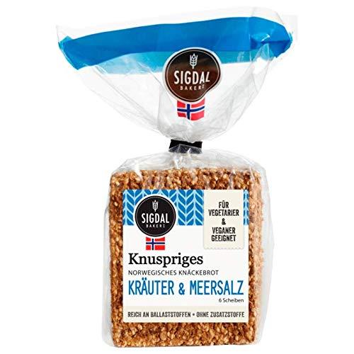 Sigdal Bakeri Norwegisches Knäckebrot Kräuter & Meersalz, 5er Pack (5 x 135 g)