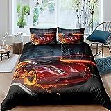 Rennwagen-Bettwäsche-Set, volle Größe, Burning Red Flame Bettbezug-Set, 3D-Sportwagen-Schmusetuch, 3-teiliges Bettwäscheset für Jungen, Sport-Dekor, Tagesdecke, Bezug Kinder, Teenager, moderner Stil