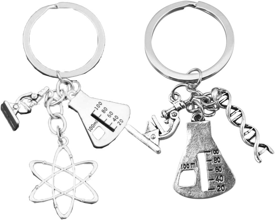 VORCOOL 2pcs Science Symbol Keychain Atom Microscope Key Chain Biology Chemistry Teacher Gift Keyring Science Lovers Gift