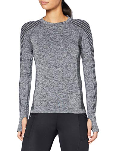 Marca Amazon - AURIQUE Camiseta Deportiva de Manga Larga sin Costuras Mujer, Gris (Grey Marl), 40, Label:M