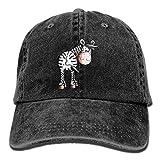 Hoswee Unisexo Gorras de béisbol/Sombrero, Funny Zebra Denim Hat Adjustable Mens Fitted Baseball Caps
