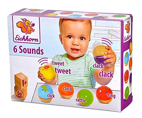 Eichhorn – Klangkugeln – 6 bunte Holzkugeln mit Sound, die verschiedene Geräusche machen, für Kinder und Babys ab 12 Monaten, Holzspielzeug