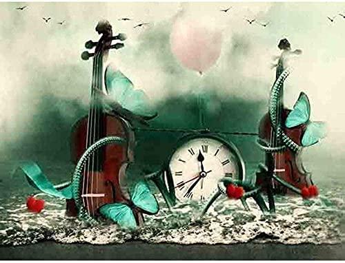 FFIKO Kit de Bordado imágenes de Bordado Punto de Cruz Reloj preimpreso violín Bordado Hilo de Bordar decoración del hogar de Año Nuevo Regalos creativos 40X50Cm (11CT Lienzo preimpreso)