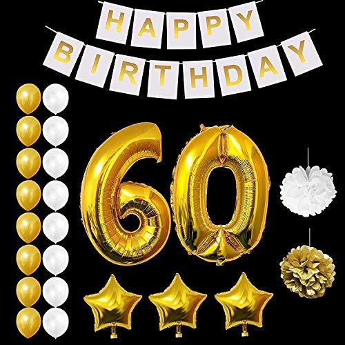 Belle Vous 60 decoraciones de cumpleaños (23 Piezas) - Estandarte de feliz cumpleaños - Globos de Látex Dorados y Blancos 16 pc, Globos Estrella 3 pc, Pom pom 2 pc con edad número 60