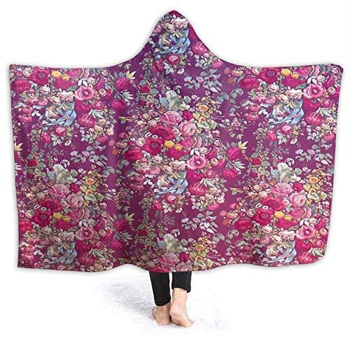 XCNGG Kapuzendecke Hooded Blanket Throw Bouquety Super Soft Sherpa Fleece Blanket Hood Poncho Cloak Cape