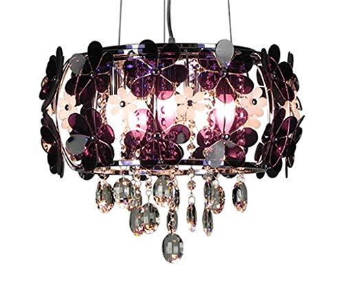 Deckenleuchte Pendelleuchte Ggraziös Kronleuchter Kristall Design Glaszylinder und Blume Acryl für Baby Mädchen Zimmer E14*5 Ø45cm*35CM Blaurot(A ++)