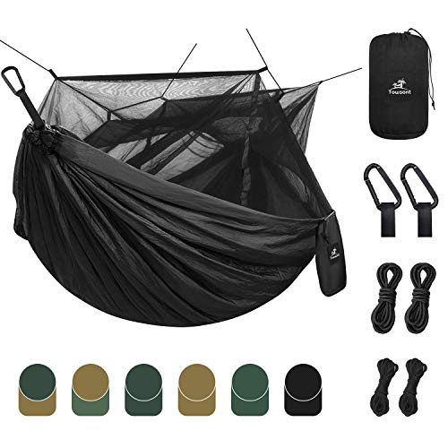 Towsont Single & Double Camping Hammock with Mosquito/Bug Net, Portable Parachute Nylon Hammock with 10ft Hammock Tree Straps 24 Loops