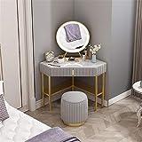 ZHNA Nordic Esquina tocador, Ante Hierro Forjado Dormitorio Triángulo de Tocador con Espejo de Maquillaje y Maquillaje heces 100x70x75cm (Color : B)