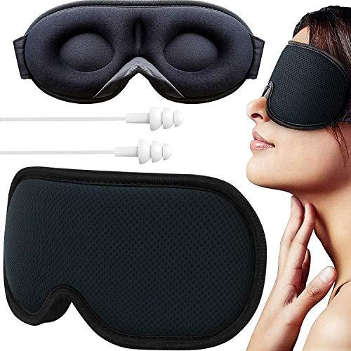 Augenmaske für Damen und Herren, Schlafmaske für Männer, Schlafmaske, verbessertes 3D-Design & ultraweich, atmungsaktiv mit verstellbarem Riemen, 100% Verdunkelungsmasken für vollständige Dunkelheit